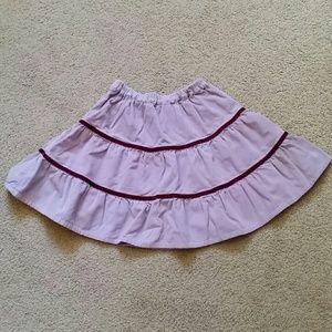 Mini Boden lavender corduroy twirl skirt, size 5-6